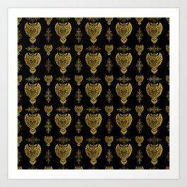 Gold Tribal Owl Pattern Art Print