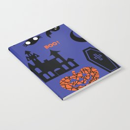 Cute Dracula and friends blue #halloween Notebook
