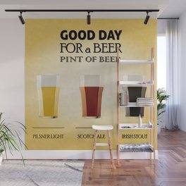 Set of beer illustration in pint glass Wall Mural