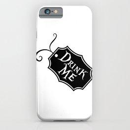 """Drink Me"" Alice in Wonderland styled Bottle Tag Design in Black & White iPhone Case"