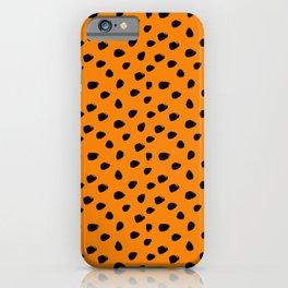 Orange and Black Seamless Pattern Paint Brush Strokes iPhone Case