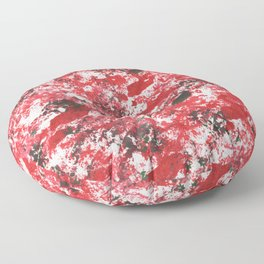 Red Camo Pattern Print Acrylic Artwork Black Splatter Painting Floor Pillow