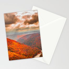 West Virginia Coopers Rock Fall Landscape Print Stationery Cards