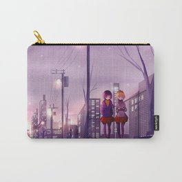 Two Cute Anime Girls Walking Along City Streets Purple Shade Ultra HD Carry-All Pouch