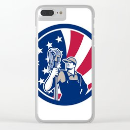 American Industrial Cleaner USA Flag Icon Clear iPhone Case