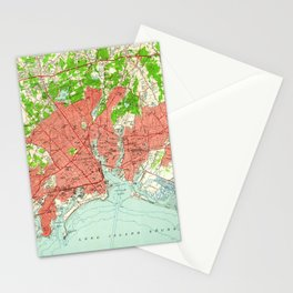 Vintage Map of Bridgeport Connecticut (1951) Stationery Cards