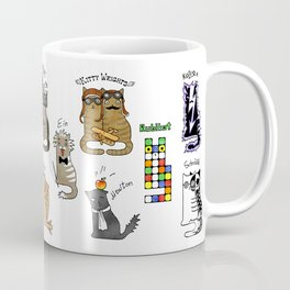 Science cats. History of great discoveries. Schrödinger cat, Einstein. Physics, chemistry etc Kaffeebecher