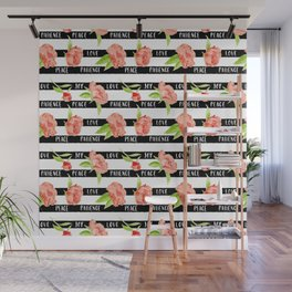 Fruit of the spirit - stripes with peonies Wall Mural