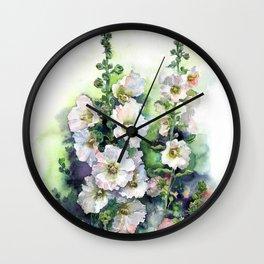 Watercolor Hollyhocks white flowers Wall Clock