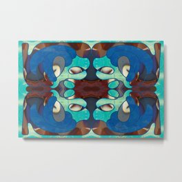 Inspired Blues Abstract Art By Omashte Metal Print