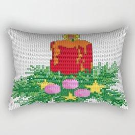 Christmas Candle Cross Stitch Rectangular Pillow