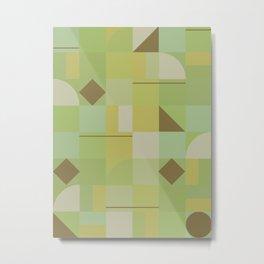 Retro Mid Century Yellow Mustard Geometric Squares Pattern Metal Print