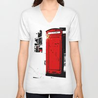 telephone V-neck T-shirts featuring telephone box by Lued