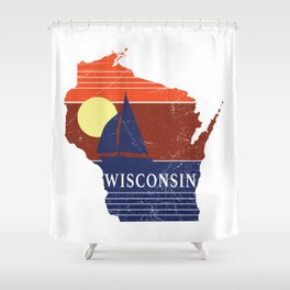 Wisconsin State WI Sailboat Sunset Print Shower Curtain