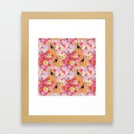 Magpie Floral Framed Art Print