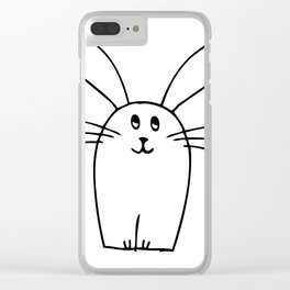 wonky bunny doodle Clear iPhone Case