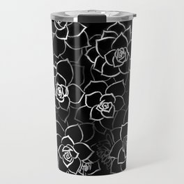 White ink. graphic with white ink and black cardboard. flowers Travel Mug