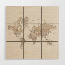 World map with cities in brown and light gray Wood Wall Art
