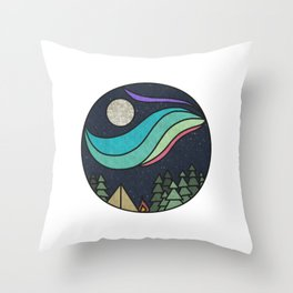Retro Northern Lights Throw Pillow