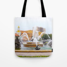 JC Nichols Horse Fountain Kansas City Country Club Plaza Tilt Shift Tote Bag