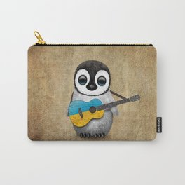 Baby Penguin Playing Ukrainian Flag Guitar Carry-All Pouch