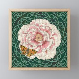 Celtic Peony and Comma Butterfly Framed Mini Art Print