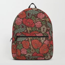 Red poppies and roses with golden keys on dark background Backpack
