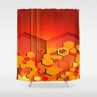 hexagon Shower Curtains featuring Hexagon Layers by Tami Cudahy
