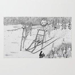 Kick-sledding Fox Rug