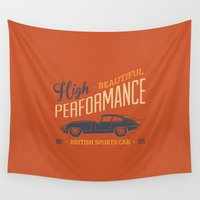 sport Wall Tapestries featuring Vintage British Sport Car by Thyme