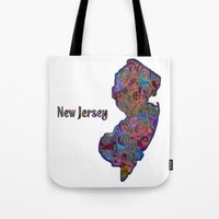 new jersey Tote Bags featuring New Jersey by gretzky