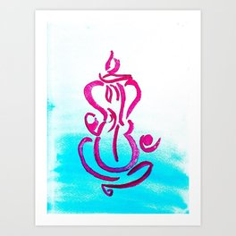 Pink Blue Ganesh Meditating Art Print