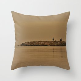 fishing in the coast from Spain Throw Pillow