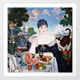 Boris Kustodiev - Merchants Wife At Tea Art Print
