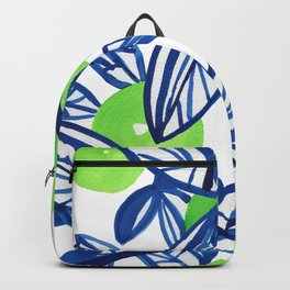 Blue and lime green abstract apple tree Backpack