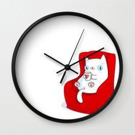 Kitty Loves Tea Wall Clock