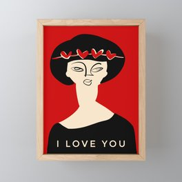 "Valentine's girl- with caption ""I love you"" Framed Mini Art Print"