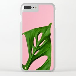Plants on Pink v2 Clear iPhone Case