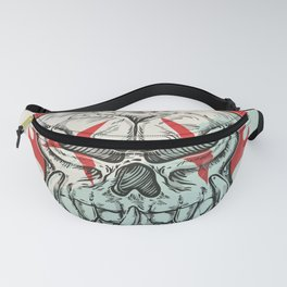 skull sketch design on white  background with flame Fanny Pack