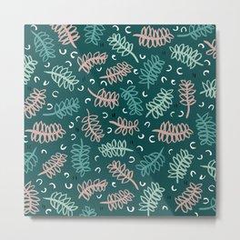 Botanical garden palm leaf teal winter pattern Metal Print