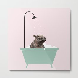 Hippo Enjoying Bubble Bath Metal Print