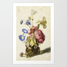 Dirck De Bray - Flowers In A Bottle Art Print