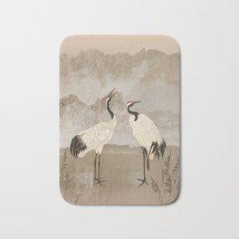 Wintering Manchurian Cranes Bath Mat