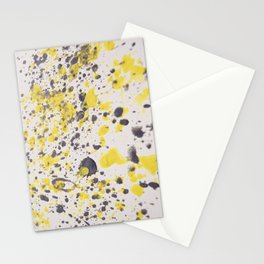 Yellow Grey Classic Abstract Art Stationery Cards