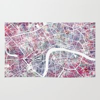 london map Area & Throw Rugs featuring London map by MapMapMaps.Watercolors