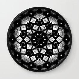 Black White Mosaic Kaleidoscope Mandala Wall Clock