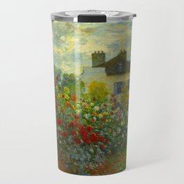 Claude Monet Impressionist Landscape Oil Painting A Corner of the Garden with Dahliass Travel Mug