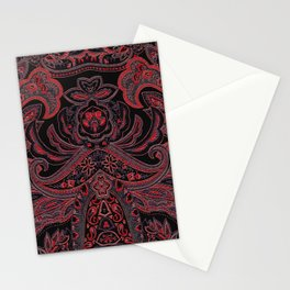 Paisley 3 Red Stationery Cards