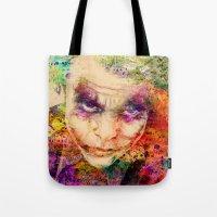joker Tote Bags featuring joker by mark ashkenazi