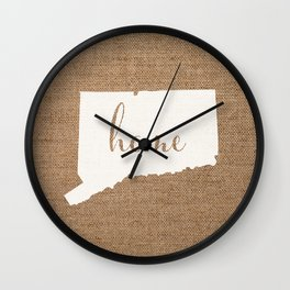 Connecticut is Home - White on Burlap Wall Clock